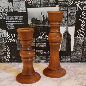 MCM Wooden Candlesticks